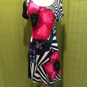 Desigual Colorful Floral Striped Sheath Dress L